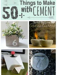 "50cement-Diy loving the ""7"" stepping stone. Maybe make some on our house numbers? Flower pot is cute too."