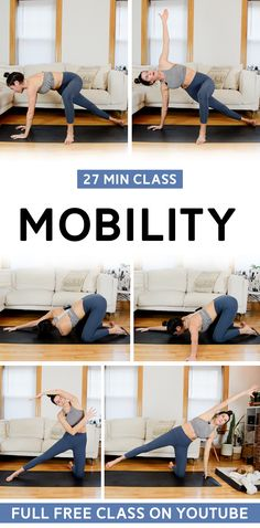This feel-good mobility workout class will focus on hips, shoulders and spine. Full workout video available on YouTube. #mobility #mobilitydrills #mobilityworkout Hiit Workout Videos, Tabata Workouts, Body Workouts, At Home Total Body Workout, Easy At Home Workouts, Quiet Workout, Best Body Weight Exercises, Low Impact Workout, Tone It Up