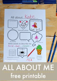 All About Me printable journal page - back to school get to know you activity, school icebreaker printable