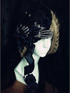 Black Handmade Flower Gothic Victorian Headdress