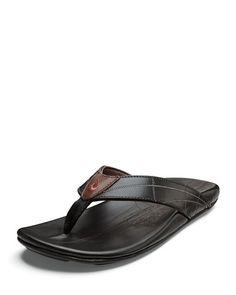 b71cff103 OluKai Men s Hokulea Kia Leather Flip-Flop Sandals