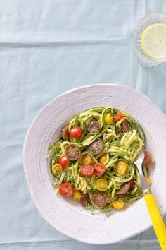 Noodled Zucchini with Arugula and Thyme Pesto