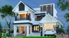 1847 square feet 4 bedroom home plan (Kerala home design) Modern Exterior House Designs, Modern Small House Design, Modern House Floor Plans, Simple House Design, Bungalow House Design, House Outside Design, House Front Design, Flat Roof House, Free House Plans
