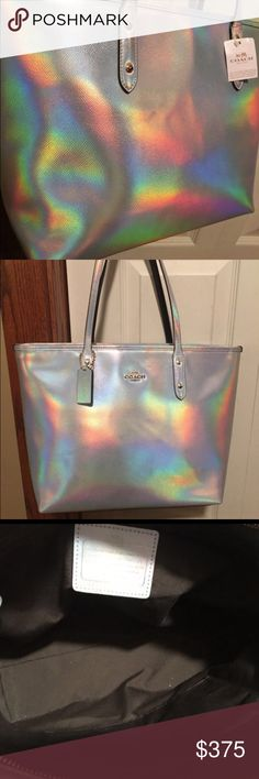 0 trades  friends coach hologram city tote Authentic Coach Hologram for my friend can't trade guys i want this so bad but have to sell for her make offers rare rare they're over five hundred now like say what ? Coach Bags Totes