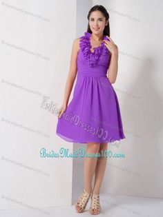 Purple Ruffled Halter Knee-length Ruched Bridesmaids Dresses