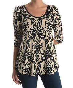 Look what I found on #zulily! Black & Taupe Damask Three-Quarter Sleeve Tunic by Chris & Carol #zulilyfinds