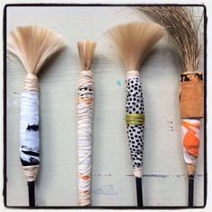 Hand Made a Brushes Hair and native grass bound in cloth and cotton Lorna Crane AUSTRALIA