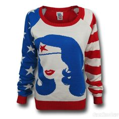 Images of Wonder Woman Old Glory Women's Sweater