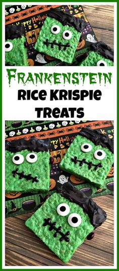 These Frankenstein Rice Krispie Treats are easy and delicious Halloween party desserts! They're also fun treats to make with kids!