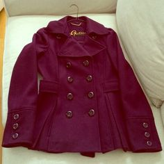 Beautiful plum colored Guess pea coat Brand new worn once and forgot about it but it's absolutely beautiful but unfortunately doesn't fit me since baby  Guess Jackets & Coats