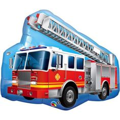 Fire Truck FireTruck Red Rescue Ladder Heroes Engine Party Mylar Balloon N for sale online Balloon Shop, One Balloon, Balloon Party, Helium Filled Balloons, Mylar Balloons, Latex Balloons, Fireman Party, Fireman Sam, Firefighter Birthday