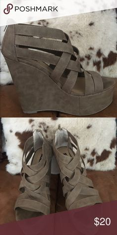 Soda Faux Suede Wedges Hi! I'm selling my super cute Soda wedges that I had worn once at Prom! They have minimal wear on the soles, since they were only worn to dinner! The wedge itself is about 4.5 inches!☺️ Shoes Wedges