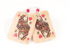 Playing Card Queen of Hearts Card Dangle Earrings - pinned by pin4etsy.com