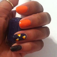 Love these candy corn Halloween nails? Check out even more awesome fall nail art designs here: http://www.womenshealthmag.com/beauty/fall-nails?cm_mmc=Pinterest-_-womenshealth-_-content-beauty-_-halloweennail