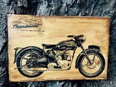 Excited to share the latest addition to my #etsy shop: Triumph Thunderbird Motorcycle Art Wooden Picture Home Decor Wall Decor Garage Artwork