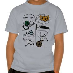 """""""Eat Sleep Soccer"""" Tee Shirts. A design for obsessive soccer players and other #athletes who like to #exercise intensely. A funny #cartoon with four quadrants depicting a stick-figure player doing different activities: eating, sleeping, #running (breathing), and on the #toilet.   #zeitgeberenzyme More #Soccer #Mom stuff at: www.zazzle.com/SoccerMomCity?rf=238479042766184488 #SoccerMom #Sport #eatsleepsoccer"""