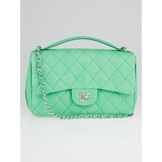 Pre-owned Chanel Green Quilted Python Easy Carry Medium Flap Bag ($3,800) ❤ liked on Polyvore featuring bags, handbags, chanel purse, green purse, chanel, snake print handbag and python print handbag
