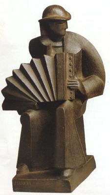 "Joel and Jan Martel, L'Accordioniste"", 1927, Stoneware by Sevres, France"