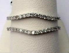 14kt White Gold Solitaire Enhancer Insert Diamonds Ring Guard Wrap Wedding Band(0.25ct. tw) by RG&D