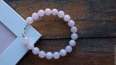 Купить Браслет из серебра с натуральным розовым кварцем - браслеты, браслет из кварца, серебряный браслет