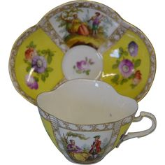 Carl Thieme Cup & Saucer  This beautiful cup and saucer were made circa 1888 - 1901 by Carl Thieme in Meissen, Germany.