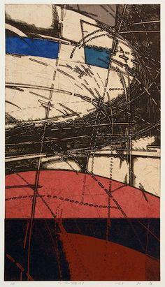 92-風の背骨-19Pcopperplate print with chine colle'( etching) HAYASHI Takahiko 林孝彦