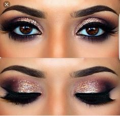 Brown black gold sparkle i love this look