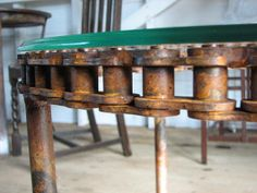 Industrial Round Coffee Table With Glass Top 24""