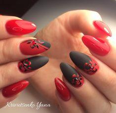 11 Elegant Black Nail Art Designs that You'll Love - Best Nail Art Square Nail Designs, Cute Nail Art Designs, Red Nail Designs, Cute Nails, Pretty Nails, Almond Acrylic Nails, Ballerina Nails, Luxury Nails, Chrome Nails