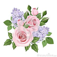 Pink roses and lilac flowers. Vector illustration.