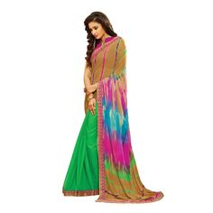 Buy Multicolor Chiffon & Silk Georgette With Print & Lace Work Designer Saree Online at cheap prices from Shopkio.com: India`s best online shoping site