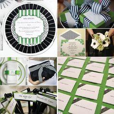 Black white and green wedding board