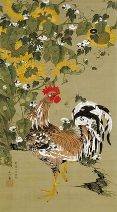 伊藤若冲 Ito Jakuchu/動植綵絵 Doshoku Sai-e(Colorful Realm of Living Beings)05-向日葵雄鶏図 Himawari Yukei-zu(Rooster and Sunflowers)