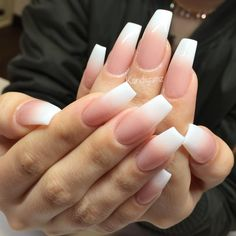 Fact About Pink Ombre Acrylic Nails Beauty 84 White Tip Nails, Peach Nails, White Acrylic Nails, Almond Acrylic Nails, Pink Nails, Gel Nails, Coffin Ombre Nails, White Almond Nails, Colorful Nail Designs