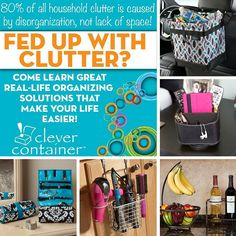 Are you fed up with clutter? Let Clever Container help! As the only direct sales company that specializes in organizational products, Clever Container is dedicated to helping you tame the clutter in your life. Our stylish and affordable products will help with every room of your home including your car. Shop our products, host a party to earn free products, or start your own Clever Container business. http://clevercontainer.com/candice
