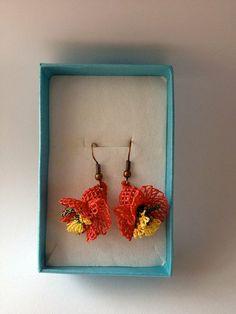 Reddish Orange Turkish Needle Lace Earring on Etsy,