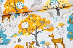 Stoff - Cute Critters - Waldtiere - Grau auf alles-fuer-selbermacher.de
