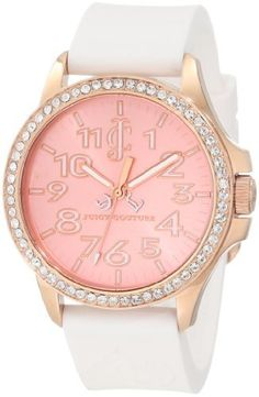 Juicy Couture Women's 1900963 Jetsetter White Silicone Strap Watch Juicy Couture. $195.00. White silicone strap. Swarovski crystal set bezel. Water-resistant to 30 M (99 feet). 38 mm rose-gold plated stainless steel round case. Japanese quartz movemet