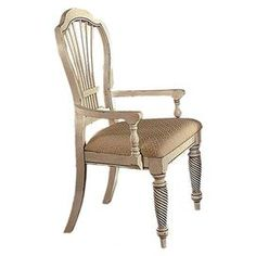 """Featuring an elegant openwork back and carved legs, this antiqued white pine wood arm chair brings a stately touch to your kitchen or dining room.         Product: Set of 2 chairs    Construction Material: Pine wood and fabric    Color: Antiqued white and beige   Features:    Turned detailing19"""" Seat height  Dimensions: 43"""" H x 23.75"""" W x 24.5"""" D Cleaning and Care: Dust frequently using a clean, specifically treated dusting cloth that will attract and hold dust particles. Do ..."""
