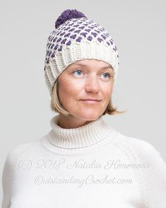 fa8e5c7d Polka Dot Beanie Hat with pom pom crochet pattern with step-by-step  pictures, charts / graphs and written instructions in baby, kid, teen,  adult sizes.