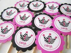Zebra Print Crown Tiara Cupcake Toppers for Princess or Diva Party | adorebynat - Seasonal on ArtFire