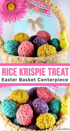 Rice Krispie Treat Easter Basket Centerpiece - This unique Easter Centerpiece will be everyone's favorite Easter decoration. A fun Easter Craft that you can make for your own Easter brunch or Easter dinner table. Filled with tasty Rice Krispie Treat Easter Eggs, this fun centerpiece will wow your party guests! Follow us for more amazing Easter Food ideas.