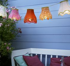 DIY:  Create beautiful lighting for your patio with vintage lampshades!
