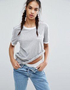 adidas Originals Gray Three Stripe T-Shirt 13db17a2df519