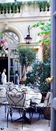 Travelling - Ralph Lauren Paris Restaurants In Paris, Paris Hotels, Romantic Restaurants, Oh The Places You'll Go, Places To Travel, Places To Visit, Belgian Pearls, Courtyard Cafe, Terrace