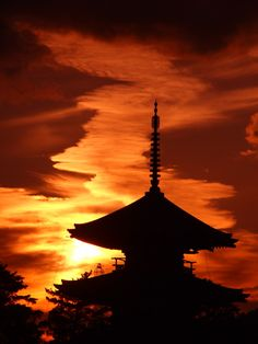 This is a beautiful sunset at Hokiji of World Cultural Heritage in Japan.
