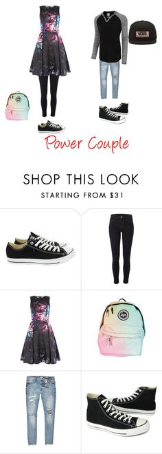 """""""Power Couple"""" by cassiegaston-1 on Polyvore featuring Converse, River Island, LE3NO and Vans"""