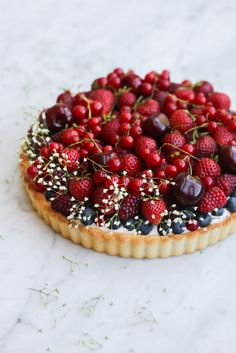 Constellation Inspiration: Whipped Strawberry Cream Cheese Tart with Berries