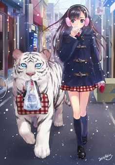 Anime Girl With Tiger, Fanart image.