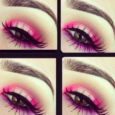 Pink and purple eye makeup